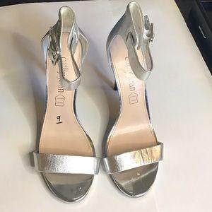 9 Silver Leather Cathy Jean Sandal Heels